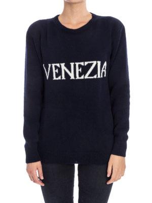 Alberta Ferretti: crew necks online - Venezia wool blend catwalk sweater