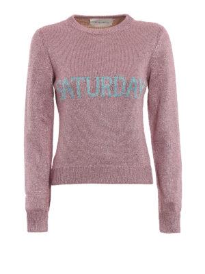 ALBERTA FERRETTI: maglia collo rotondo - Pull Saturday corto in lamé rosa