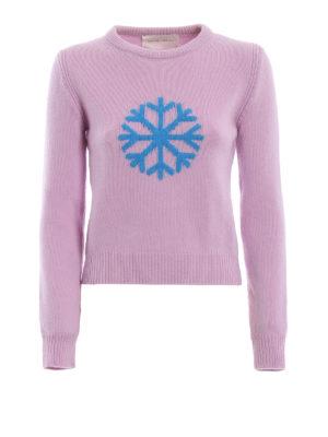 ALBERTA FERRETTI: maglia collo rotondo - Pull in lana e cashmere con fiocco di neve