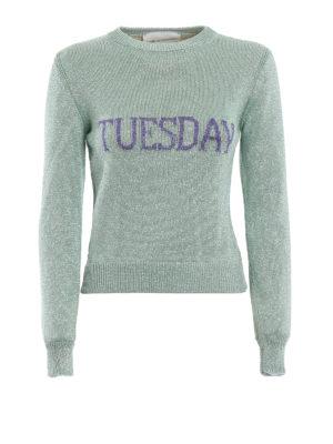 ALBERTA FERRETTI: maglia collo rotondo - Pull Tuesday crop in lamé verde chiaro