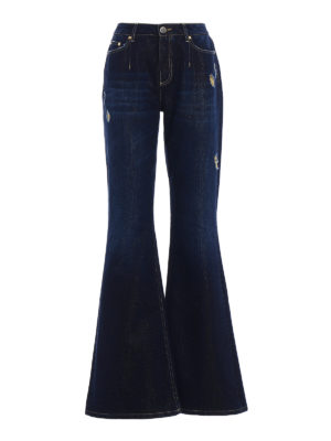 Alberta Ferretti: flared jeans - Denim and lurex flared jeans