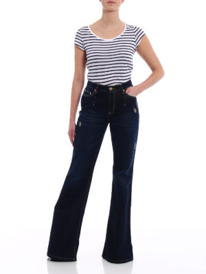 Alberta Ferretti: flared jeans online - Denim and lurex flared jeans