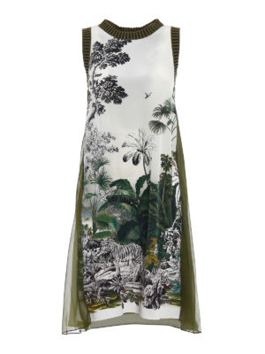 Alberta Ferretti: knee length dresses - Crêpe de chine dress with flounce