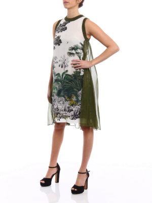 Alberta Ferretti: knee length dresses online - Crêpe de chine dress with flounce