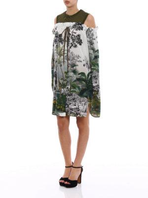 Alberta Ferretti: knee length dresses online - Jungle printed silk dress