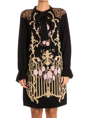 Alberta Ferretti: knee length dresses online - Wool and lace embellished dress