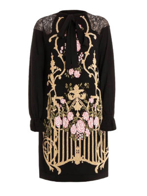 Alberta Ferretti: knee length dresses - Wool and lace embellished dress