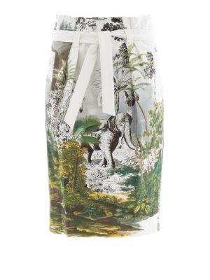 Alberta Ferretti: Knee length skirts & Midi - Jungle print skirt with self belt
