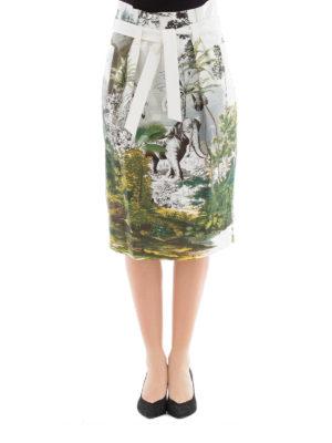 Alberta Ferretti: Knee length skirts & Midi online - Jungle print skirt with self belt