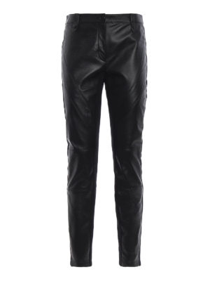 ALBERTA FERRETTI: pantaloni in pelle - Pantaloni in pelle con bande in maglia