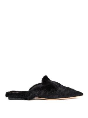 Alberta Ferretti: Loafers & Slippers - Mia black mink fur trimmed slipper