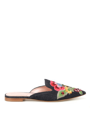 Alberta Ferretti: Loafers & Slippers - Mia embellished denim slippers