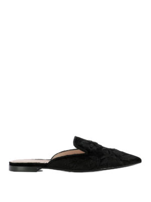 Alberta Ferretti: Loafers & Slippers - Mia embroidered velvet slippers