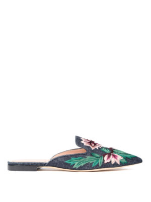 Alberta Ferretti: Loafers & Slippers - Mia floral embroidered slippers