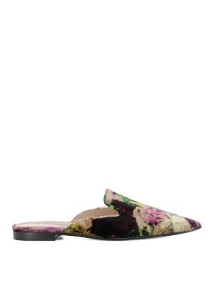 Alberta Ferretti: Loafers & Slippers - Mia floral velvet slippers
