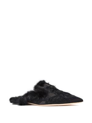Alberta Ferretti: Loafers & Slippers online - Mia black mink fur trimmed slipper