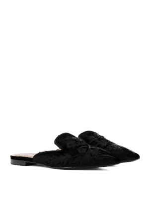 Alberta Ferretti: Loafers & Slippers online - Mia embroidered velvet slippers