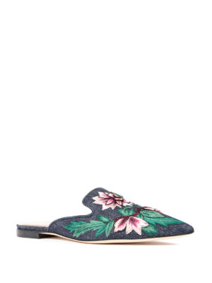 Alberta Ferretti: Loafers & Slippers online - Mia floral embroidered slippers