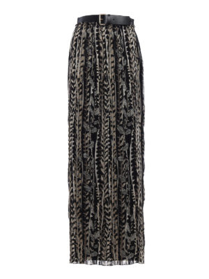 Alberta Ferretti: Long skirts - Belt detailed silk skirt