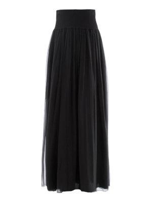 Alberta Ferretti: Long skirts - Black silk pleated skirt
