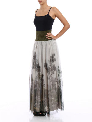 Alberta Ferretti: Long skirts online - Patterned tulle pleated long skirt
