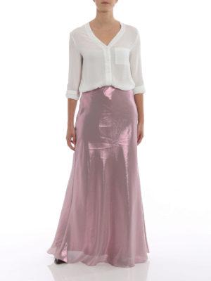 Alberta Ferretti: Long skirts online - Shining lamé long flared skirt