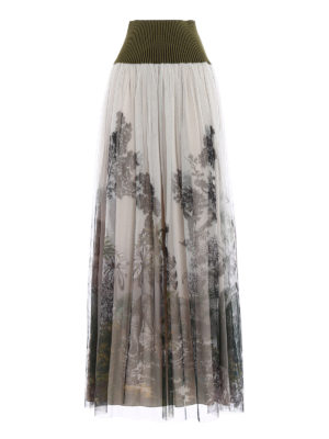 Alberta Ferretti: Long skirts - Patterned tulle pleated long skirt