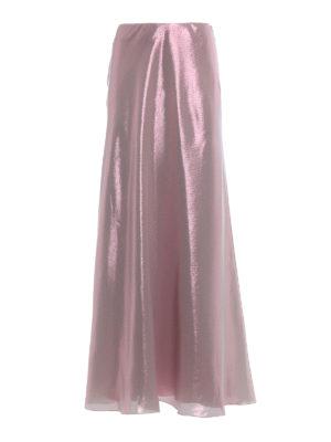 Alberta Ferretti: Long skirts - Shining lamé long flared skirt