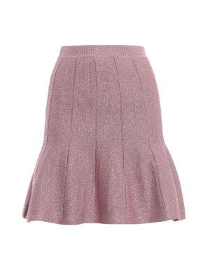 ALBERTA FERRETTI: minigonne - Minigonna godet in lamé  rosa forte
