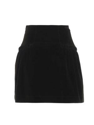 ALBERTA FERRETTI: minigonne - Minigonna in velluto millerighe verde scuro