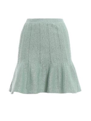 ALBERTA FERRETTI: minigonne - Minigonna godet in lamé verde chiaro