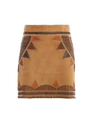 4e87dea12473 ALBERTA FERRETTI: minigonne - Minigonna in camoscio con intarsi e borchie