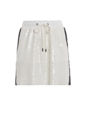 ALBERTA FERRETTI: minigonne - Minigonna bianca in paillettes