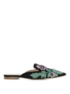 Alberta Ferretti: mules shoes - Mia black embroidered velvet mules