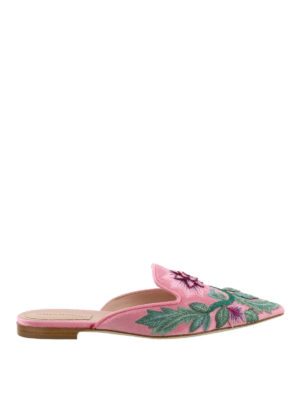 Alberta Ferretti: mules shoes - Mia embroidered pink velvet mules