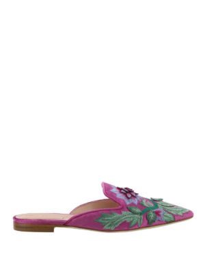 Alberta Ferretti: mules shoes - Mia embroidered velvet mules