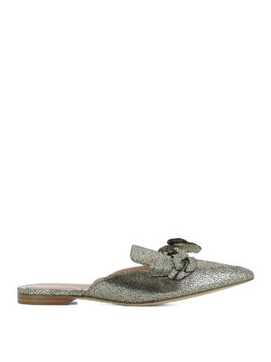 Alberta Ferretti: mules shoes - Mia gold laminated leather mules