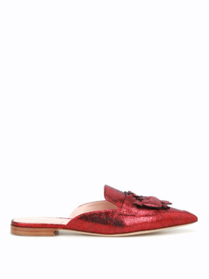 Alberta Ferretti: mules shoes - Mia red laminated leather mules