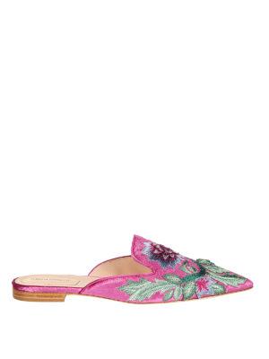 Alberta Ferretti: mules shoes - Mia silk blend upper detailed mules