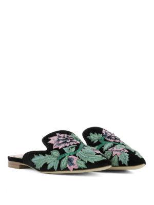 Alberta Ferretti: mules shoes online - Mia black embroidered velvet mules