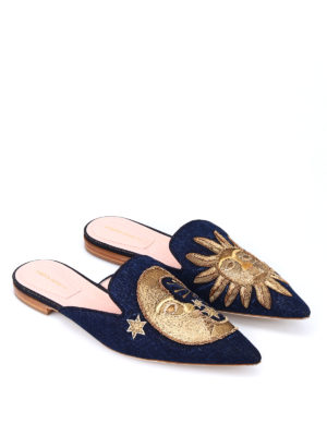 Alberta Ferretti: mules shoes online - Mia embroidered moon and sun mules