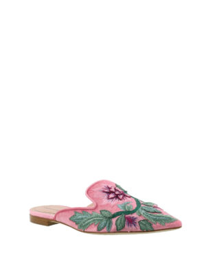 Alberta Ferretti: mules shoes online - Mia embroidered pink velvet mules