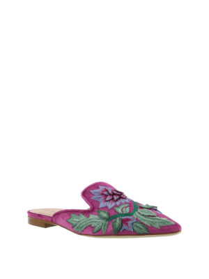 Alberta Ferretti: mules shoes online - Mia embroidered velvet mules