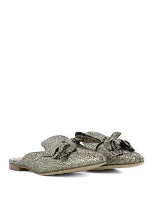 Alberta Ferretti: mules shoes online - Mia gold laminated leather mules