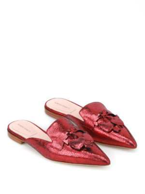 Alberta Ferretti: mules shoes online - Mia red laminated leather mules
