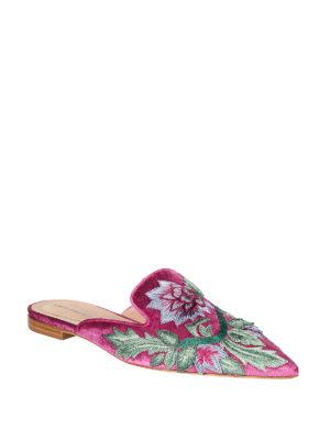 Alberta Ferretti: mules shoes online - Mia silk blend upper detailed mules
