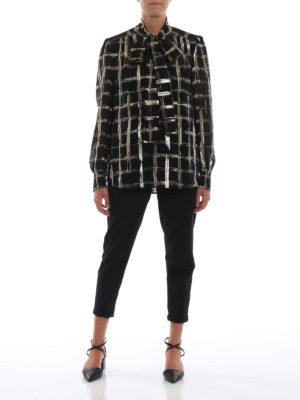 ALBERTA FERRETTI: bluse online - Blusa in chiffon di seta a quadri dorati