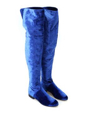 ALBERTA FERRETTI: stivali online - Stivali cuissard in velluto blu elettrico