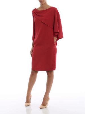 ALBERTA FERRETTI: abiti da cocktail online - Abito asimmetrico dritto rosso con drappeggio