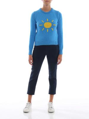 ALBERTA FERRETTI: maglia collo rotondo online - Pull in lana e cashmere con sole a contrasto
